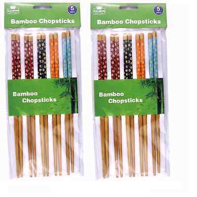 10 Pair Bamboo Chopsticks Assorted Colours Reusable Chinese Japanese Pattern