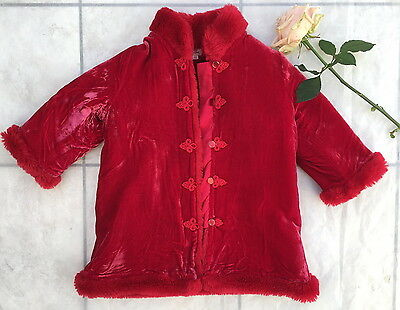 Amazing Children Girls Monsoon Christmas Red Party Evening Velvet Coat 3-4 years
