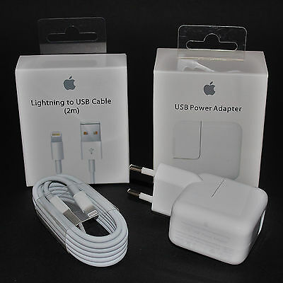 100% Original Apple Lightning Kabel 2m + 12W Netzteil iPhone 5 5S 6+ 7+ iPad NEU