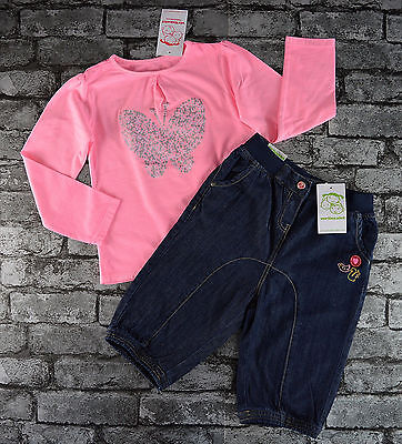 Nwt Girls Boutique Cropped Trousers & Long Sleeved Pink Top Set Outfit Age 5