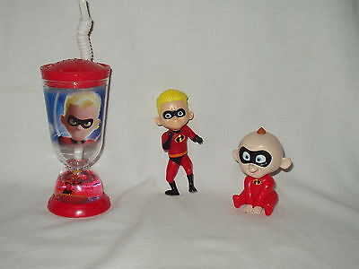 THE INCREDIBLES disney snow globe plastic CUP Baby Jack Windup Dash Figure