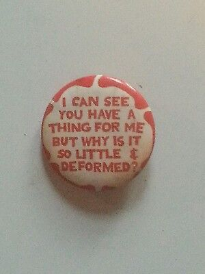 Vtg Pinback☆Humorous Sexual Innuendo ☆Read All About It !