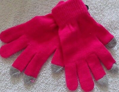 Dark Pink Touch Screen Gloves One Size -Free Postage