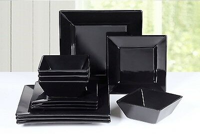 12 Piece Black Square Dinner Set Stoneware Plates Bowls Dinnerware Service Home