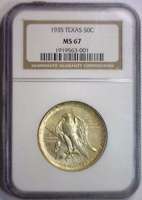 1935 Texas Silver Commemorative Half Golden Toned ~ NGC MS67 MS 67