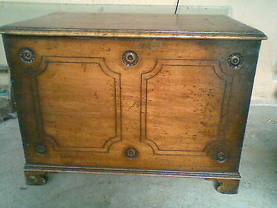a vintage large carved linen trunk chest storage unit(nice looking)coffee table