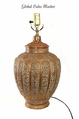 Copper Persian Lamp Incense Pot Hand Tooled Hammered Engraved