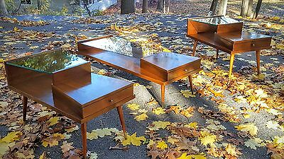 James Philip Mid Century1950's Tiered CoffeeTable & 2 End Tables Wood & Glass