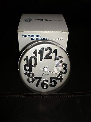 Karlsson 'Numbers in relief' alarm clock silver & white BNIB