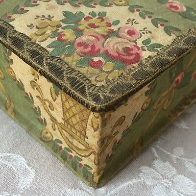 Pretty Vtge FRENCH  BOUDOIR FABRIC BOX Cartonnage Floral Basket Pink Roses 1920