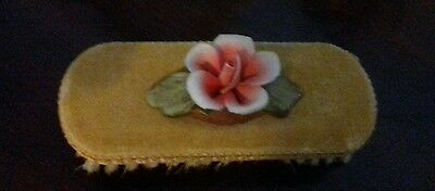 Antique Ladies Brush / Clothes  with Velvet top adorned with a fine china flower