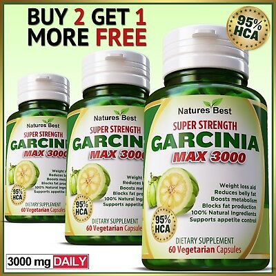 95% HCA Garcinia Cambogia 3000mg Daily Weight Loss Diet Slim Capsules Strongest