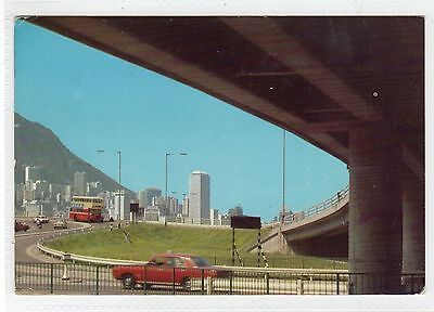 FLY-OVER IN CENTRAL DISTRICT: Hong Kong postcard (C23196)