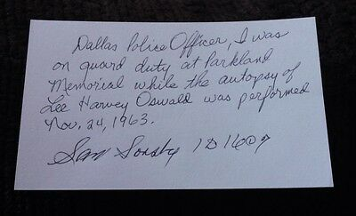 Autographed Sam Sorsby index card w/loa      JFK   LEE HARVEY OSWALD   DALLAS PD