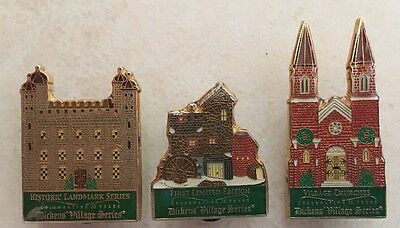 20th Anniversary Dickens Village Pins Department 56 Lot Of 3 LIMITED EDITION NEW