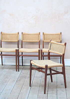 Vintage Retro Mid Century Danish Teak Papercord Dining Chairs x4