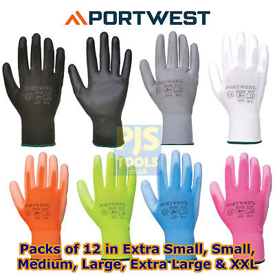 12 pairs x Portwest A120 PU palm coated work gloves garden garage All colours
