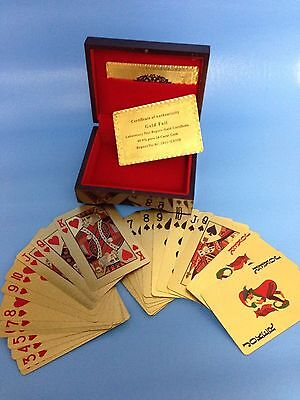 24 Karat 99.9% gold plated Playing Cards,Full Deck with Jokers & Wooden Box