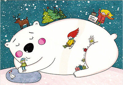 CHRISTMAS POLAR BEAR WITH CHILDREN AND ANIMALS AROUND modern Russian card