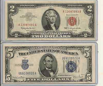 1963 $2 US red seal note & 1934D $5 Silver Certificate Lot of 2 you get all