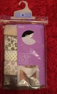 M&S 5 Pack Natural Mix High Legs Knickers Size 8 BNWL