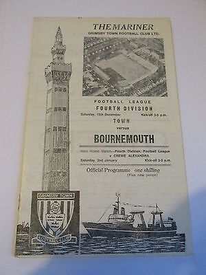 Grimsby Town  v AFC Bournemouth 19/12/1970 Div 4 Football Programme