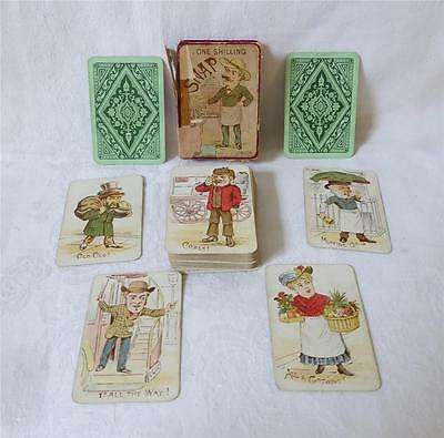Interesting Set Of Antique 19Th C Playing Cards Game Of Snap Full 56 Cards