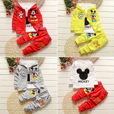 3Pcs Kids Baby Boys Girls Mickey Mouse Coat+T-shirt+Pants Cartoon Tracksuit Sets