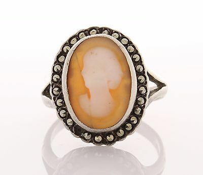 VINTAGE 10 x 14mm Cameo & Marcasite Ring Sterling SILVER