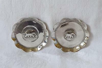 Pair Of Antique Early 20Th C Indian Silver Shaped Dishes With Elephants