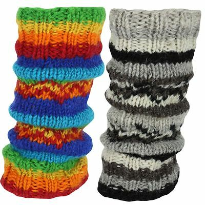 Leg Warmers Wool Knit & Fleece Lined Hippie Rainbow Slouch Boot Socks Dance