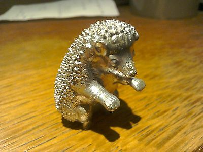 silver plated hedgehog figure ornament heavy solid  4cm high