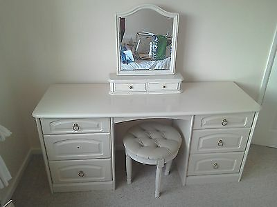 Cream dressing table with stool, mirror and bedside table