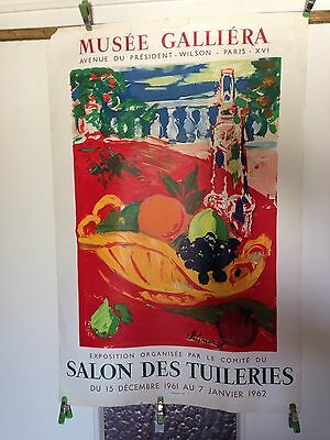 Affiche MUSÉE GALLIÉRA PARIS Authentique Originale 1962 Salon Des TUILERIES