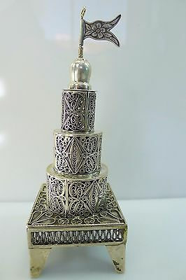 Judaica Filigree Beautiful Silver 925 Besamim Spice Tower/box In Good Condition