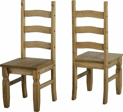 Pair of Corona Mexican Dining Chairs Distressed Waxed Pine Finish