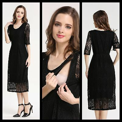 New Bnwt Black Lace Maternity Breastfeeding Nursing Dress Size S M L 8 10 12 14