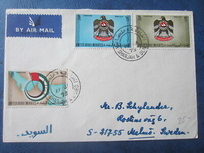 Air Mail Cover Uae Sharjah To Malmö Sweden 1973 Censor?
