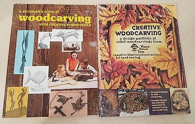Lot of 2 Beginners Look at Woodcarving Power Tools & Creative Woodcarving Book l