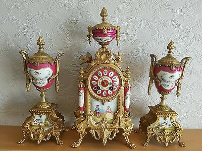 Antique 19thc Bronze & Red Sevres Porcelain French Mantle Clock Garniture Set