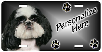 Shih Tzu   black and white   Personalized Auto License  Plate