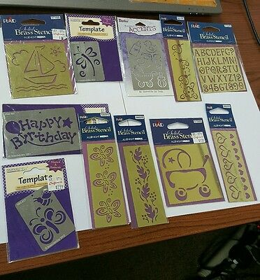 Lot Of 11 Brass Metal Stencils