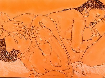 Erotic Drawing By Ashley  -  ' Love 69 '  * Original Freehand Drawing
