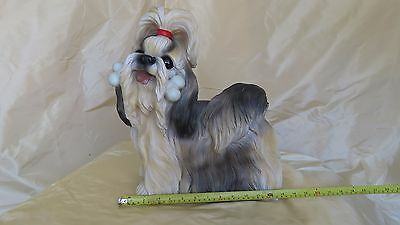 Sandicast Life Size Black and White Shih Tzu Sculpture
