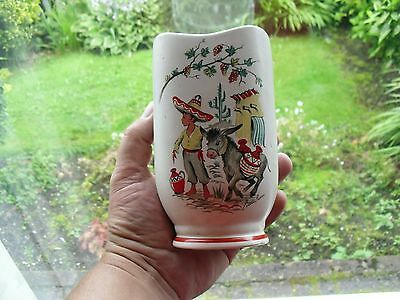 Vintage 1950's Crown Ducal Little Pedro Vase With Mexican Boy & Donkey, No' 292