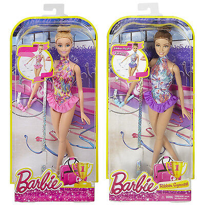 2015 Barbie Ribbon Gymnast Dolls Blonde & Brunette