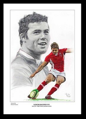 LEIGH HALFPENNY: WALES RUGBY -  FINE ART PRINT Signed by Artist