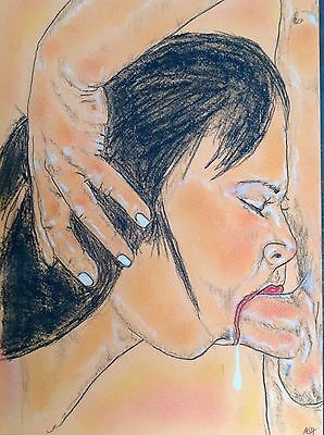 Erotic Drawing By Ashley -  ' Full Throttle '   * Original Freehand Drawing