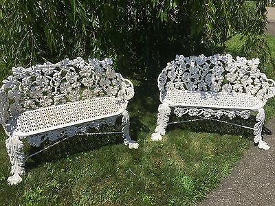 Antique Iron Floral Benches