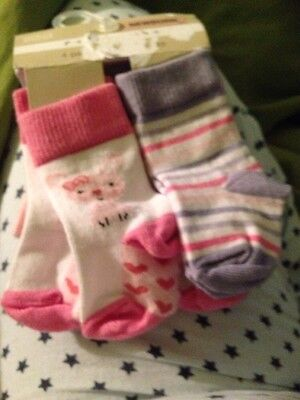 Marks And Spencer Girls Sock Newborn 4 Pair In Pink